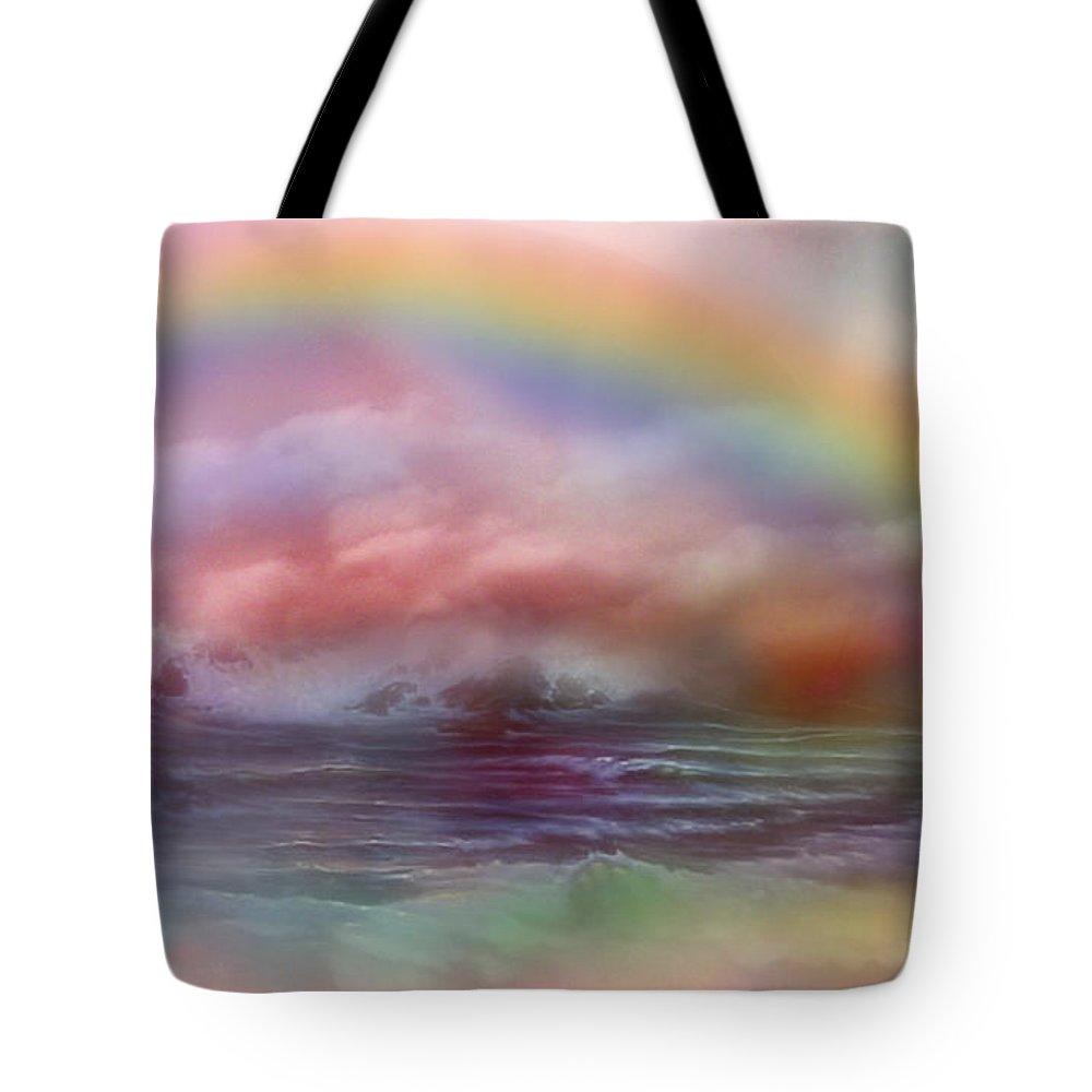 Ocean Art Tote Bag featuring the mixed media Healing Ocean by Carol Cavalaris