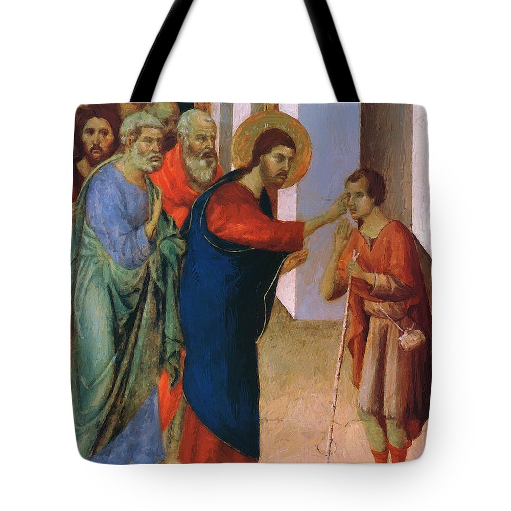 Healing Tote Bag featuring the painting Healing The Man Born Blind Fragment 1311 by Duccio