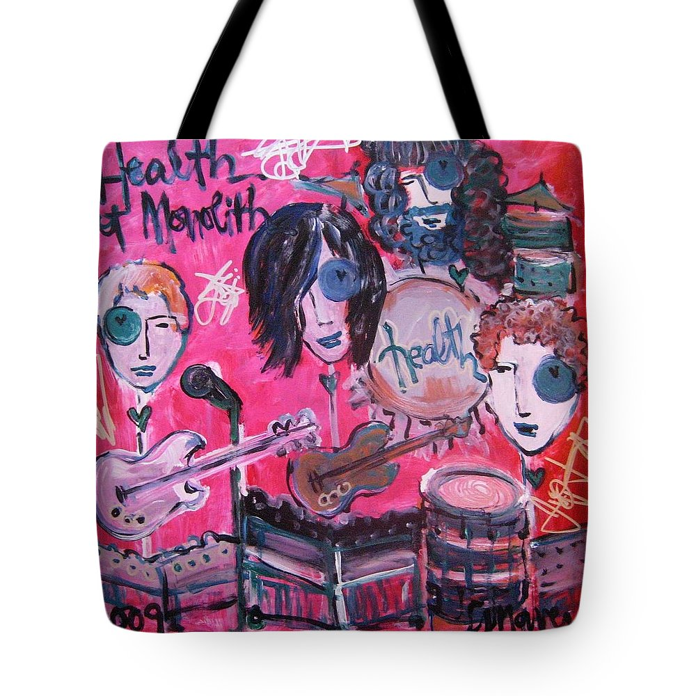 Health Tote Bag featuring the painting Health Plays Monolith by Laurie Maves ART