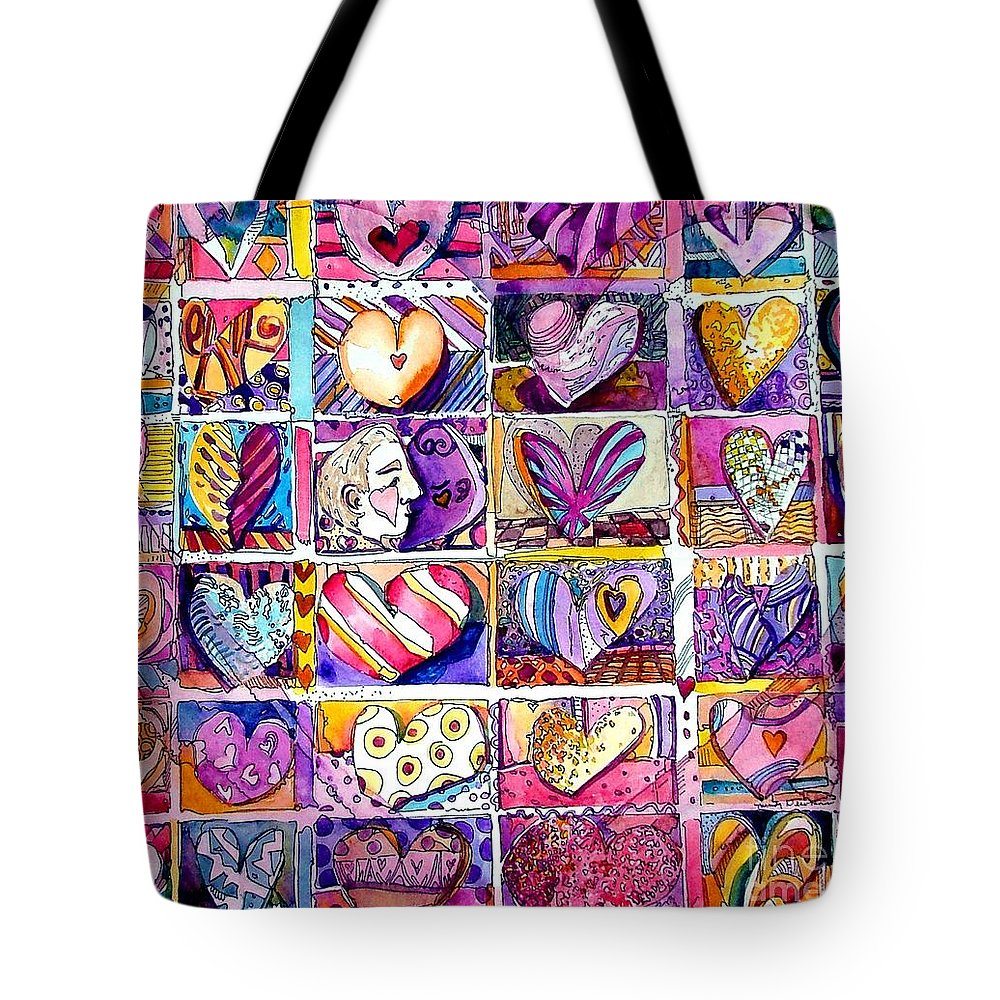 Love Tote Bag featuring the painting Heart 2 Heart by Mindy Newman