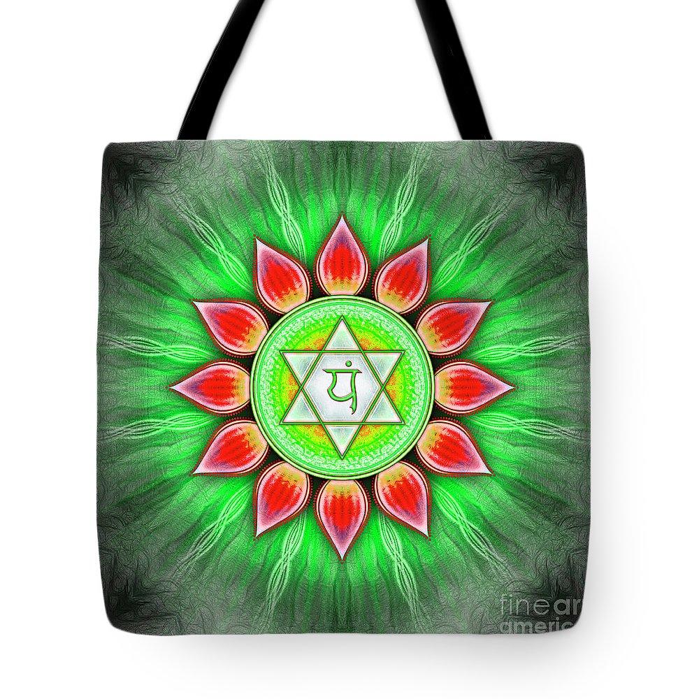 Chakra Tote Bag featuring the digital art Heart Chakra - Series 4 by Dirk Czarnota