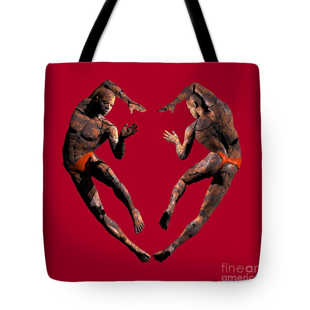 Figures Tote Bag featuring the digital art Heart Dance by Walter Oliver Neal