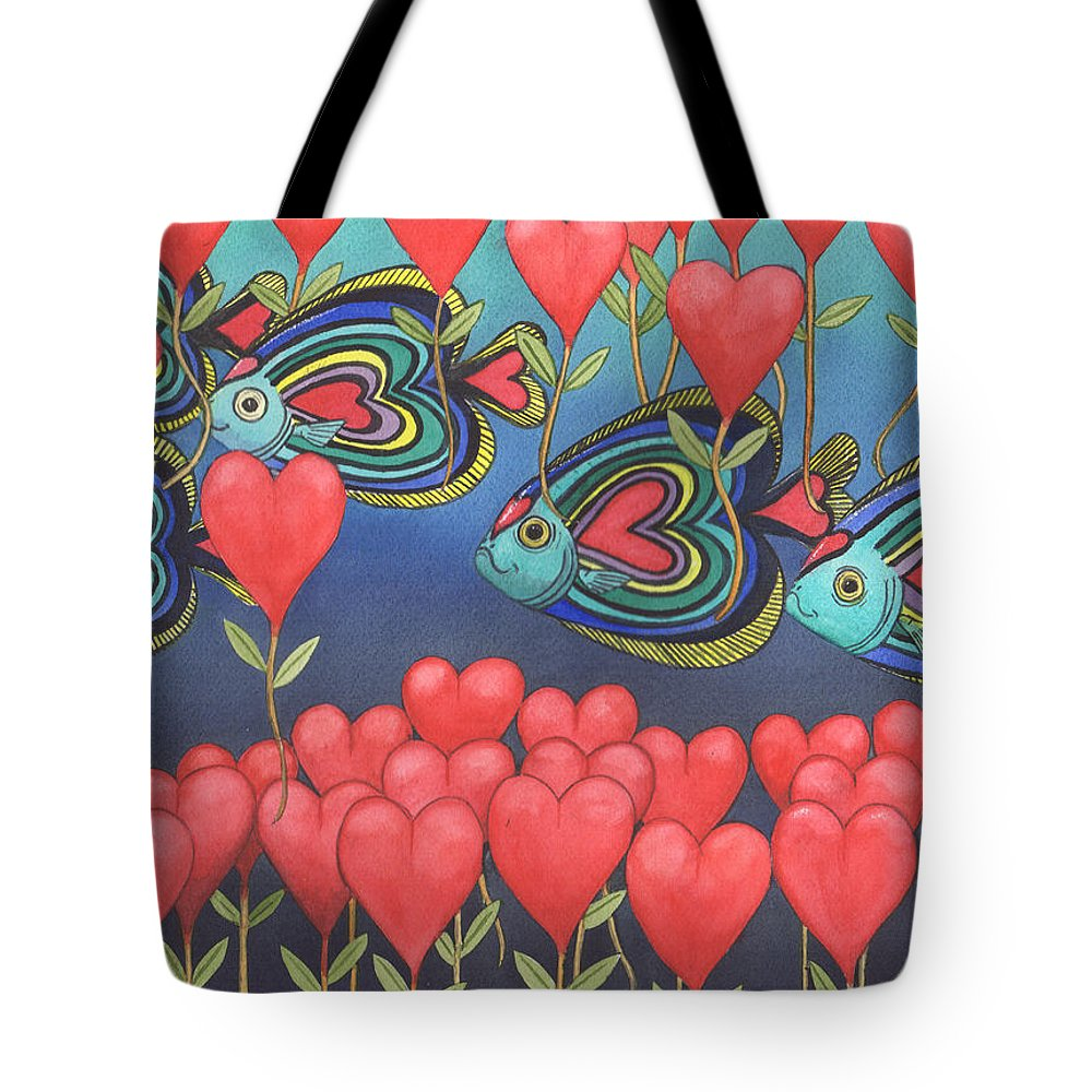 Valentine Tote Bag featuring the painting Heart fish by Catherine G McElroy