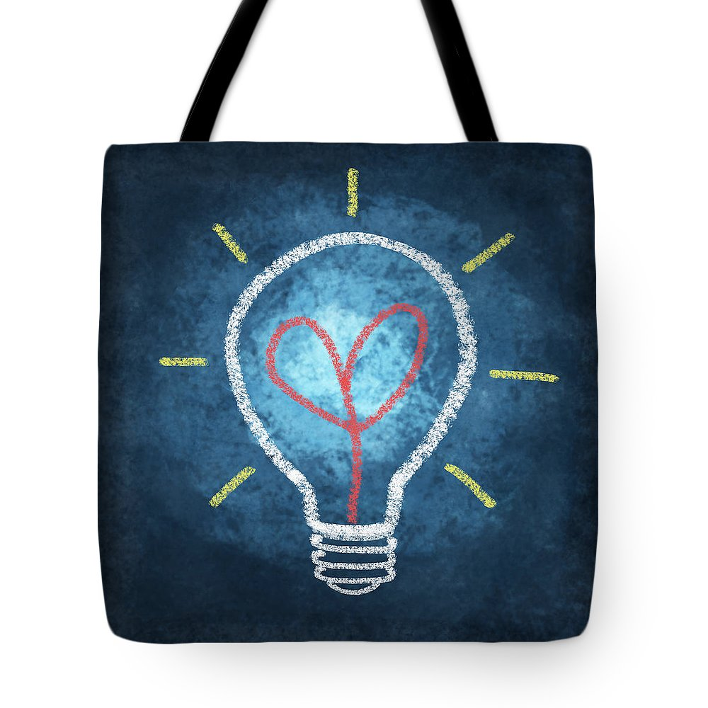 Attentive Tote Bag featuring the photograph Heart In Light Bulb by Setsiri Silapasuwanchai