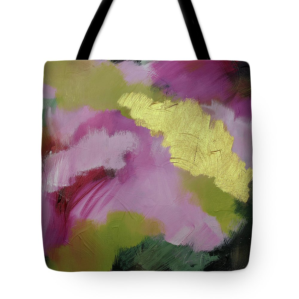 Magenta Tote Bag featuring the painting Heart Of Gold 1 by Rebecca Danger