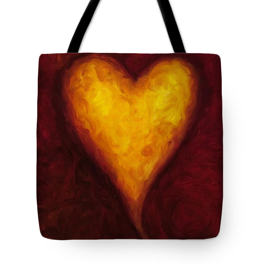 Heart Tote Bag featuring the painting Heart Of Gold 1 by Shannon Grissom