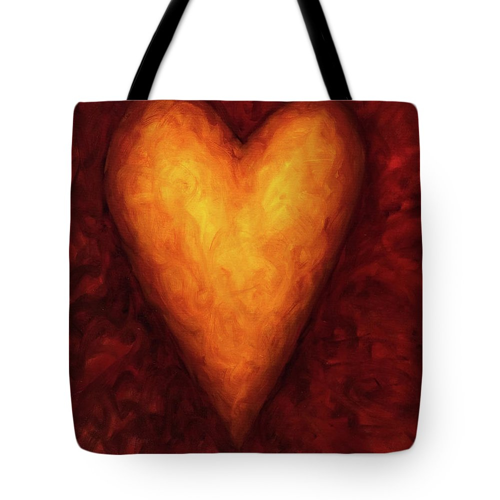 Heart Tote Bag featuring the painting Heart Of Gold 3 by Shannon Grissom
