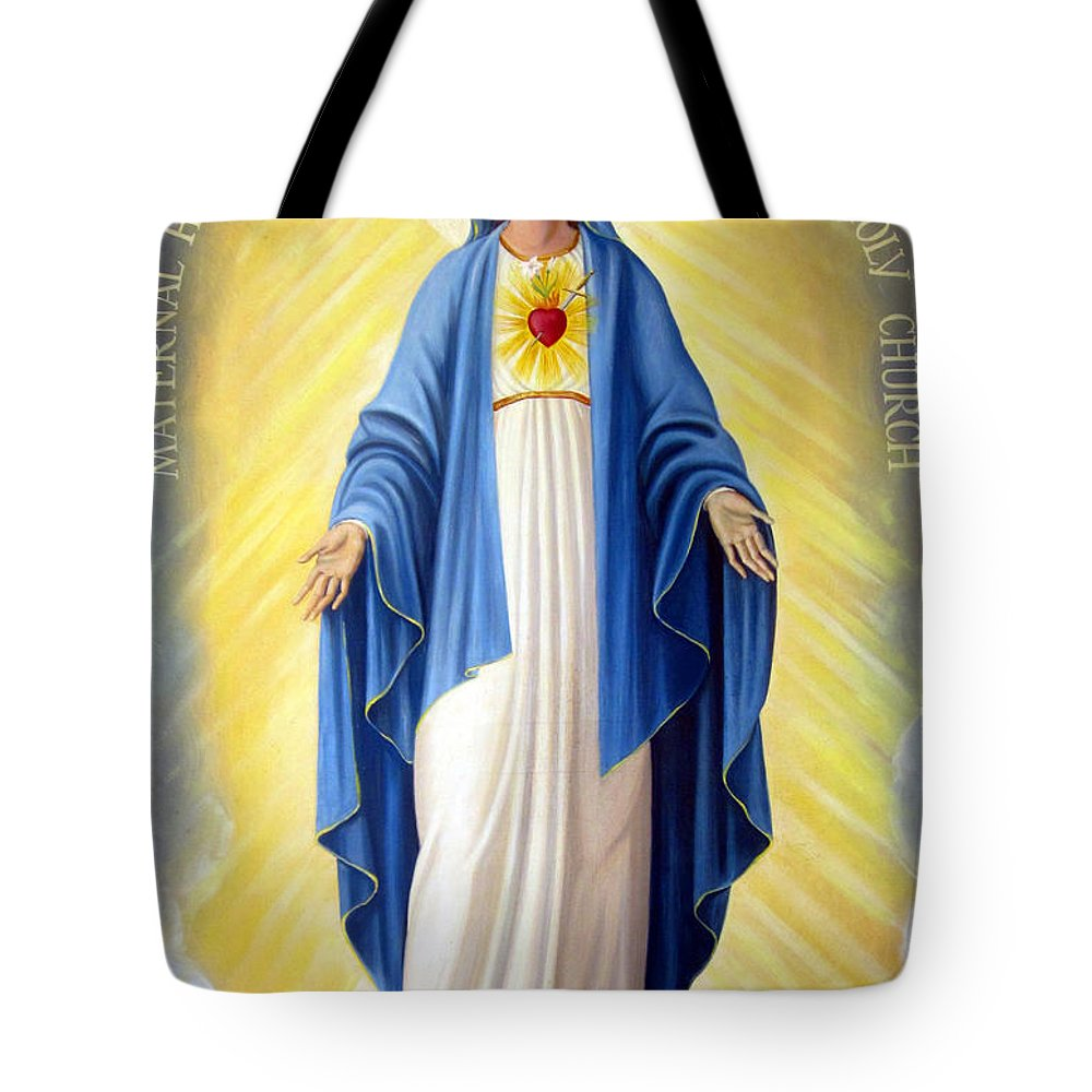Red Heart Tote Bag featuring the painting Heart Of Mary by Munir Alawi