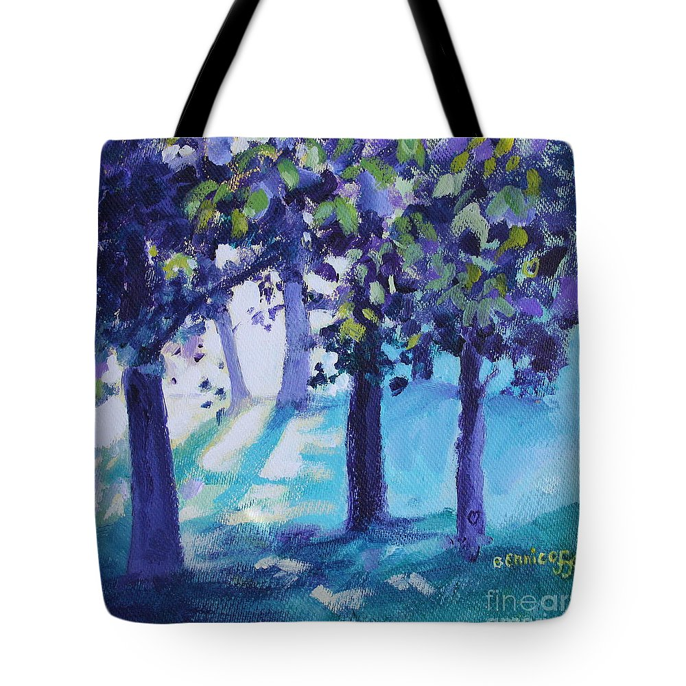 Expressionist Tote Bag featuring the painting Heart Of The Forest by Jan Bennicoff