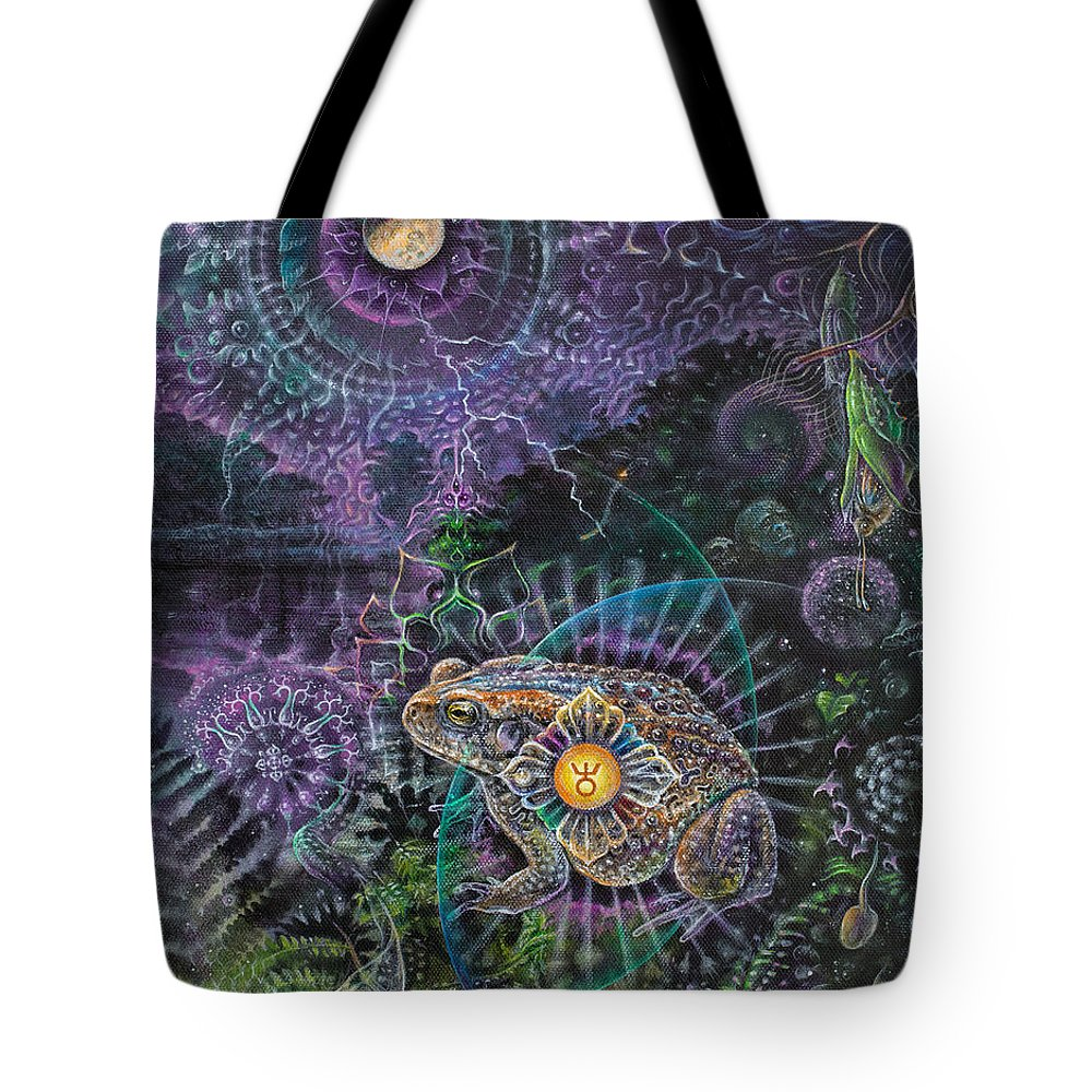 Visionary Painting Tote Bag featuring the painting Heart Of The Mystery by Tatiana Kiselyova