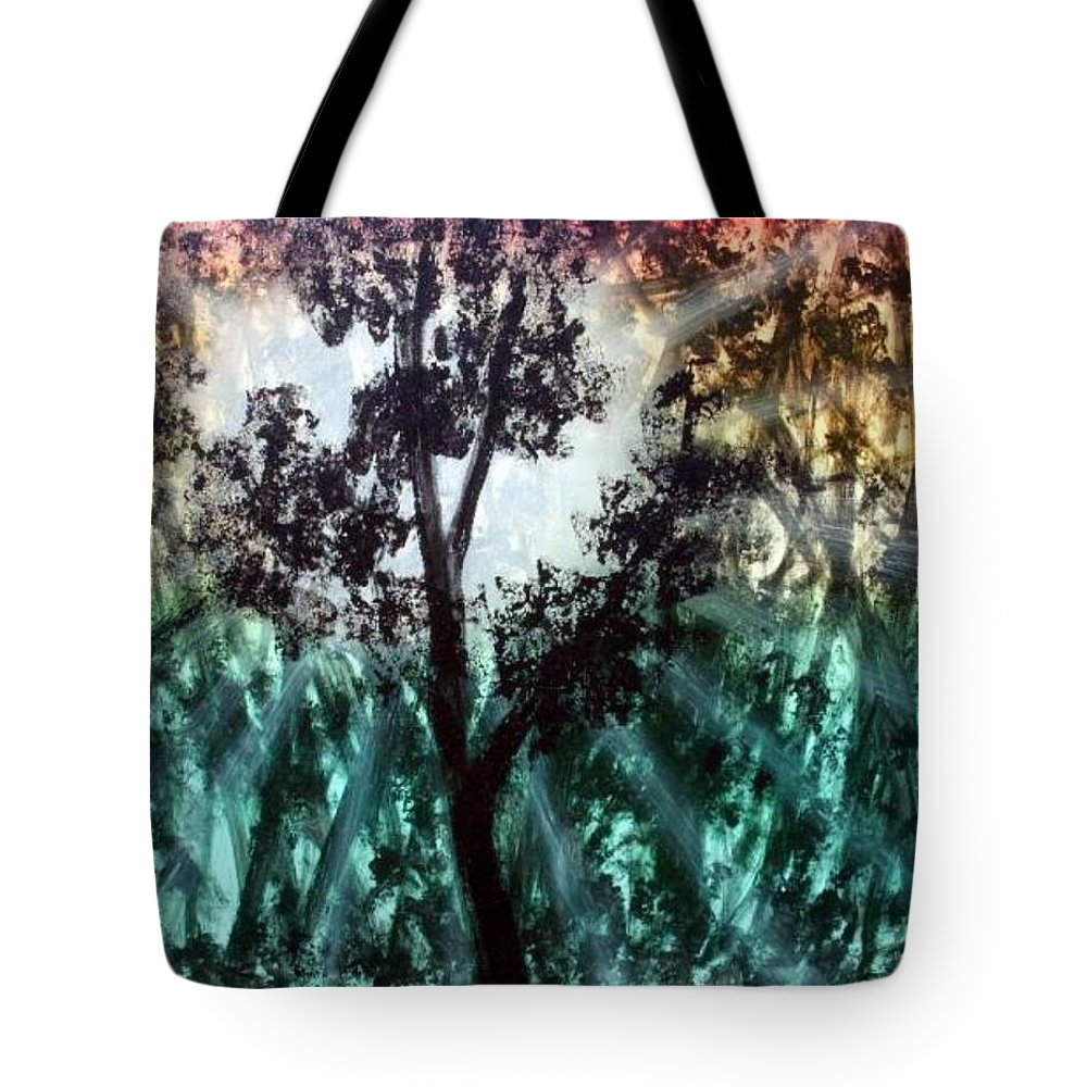 Landscape Tote Bag featuring the painting Heart Of The Rain Forest by Ervin Sloan