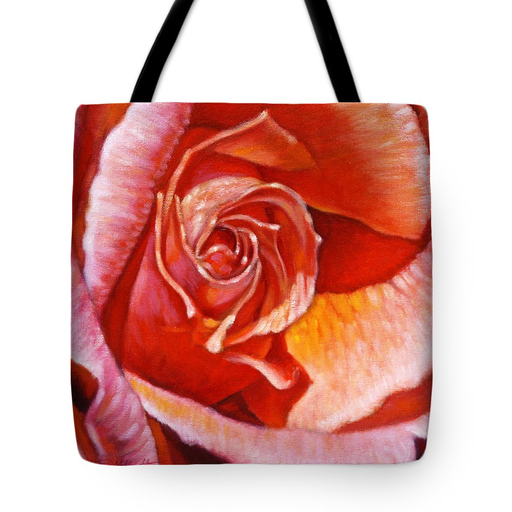 Red Rose Tote Bag featuring the painting Heart Of The Rose by John Lautermilch