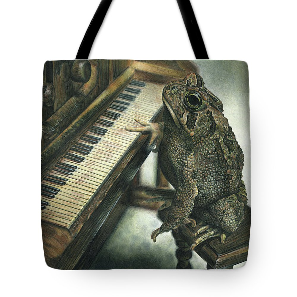 Heart Tote Bag featuring the drawing Heart Of The Symphony by Cara Bevan