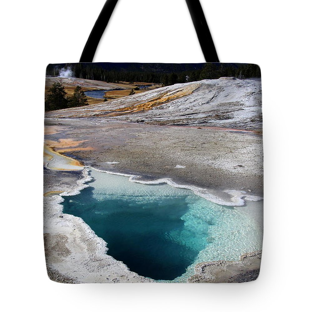 Yellowstone Tote Bag featuring the photograph Heart Spring by Mary Bluepony