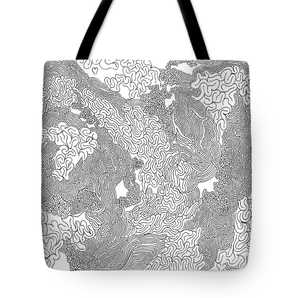 Mazes Tote Bag featuring the drawing Heart Stream by Steven Natanson