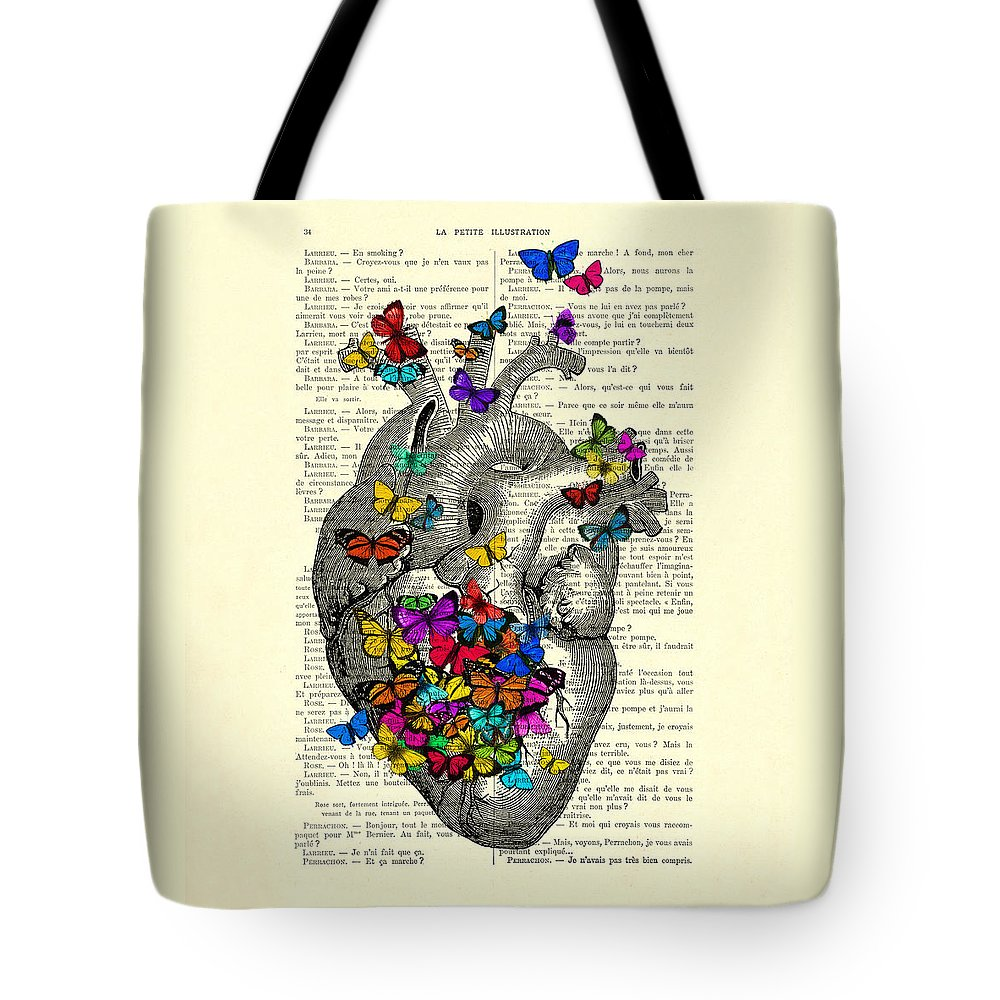 Heart Tote Bag featuring the digital art Heart With Rainbow Butterflies by Madame Memento