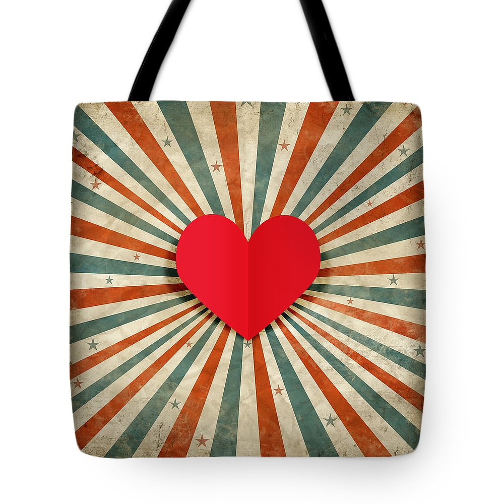 Antique Tote Bag featuring the photograph Heart With Ray Background by Setsiri Silapasuwanchai
