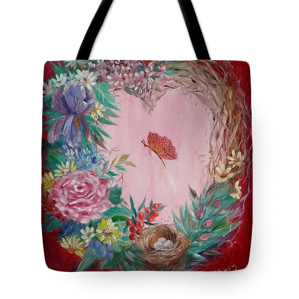 Heart Tote Bag featuring the painting Heart Wreath by Quwatha Valentine