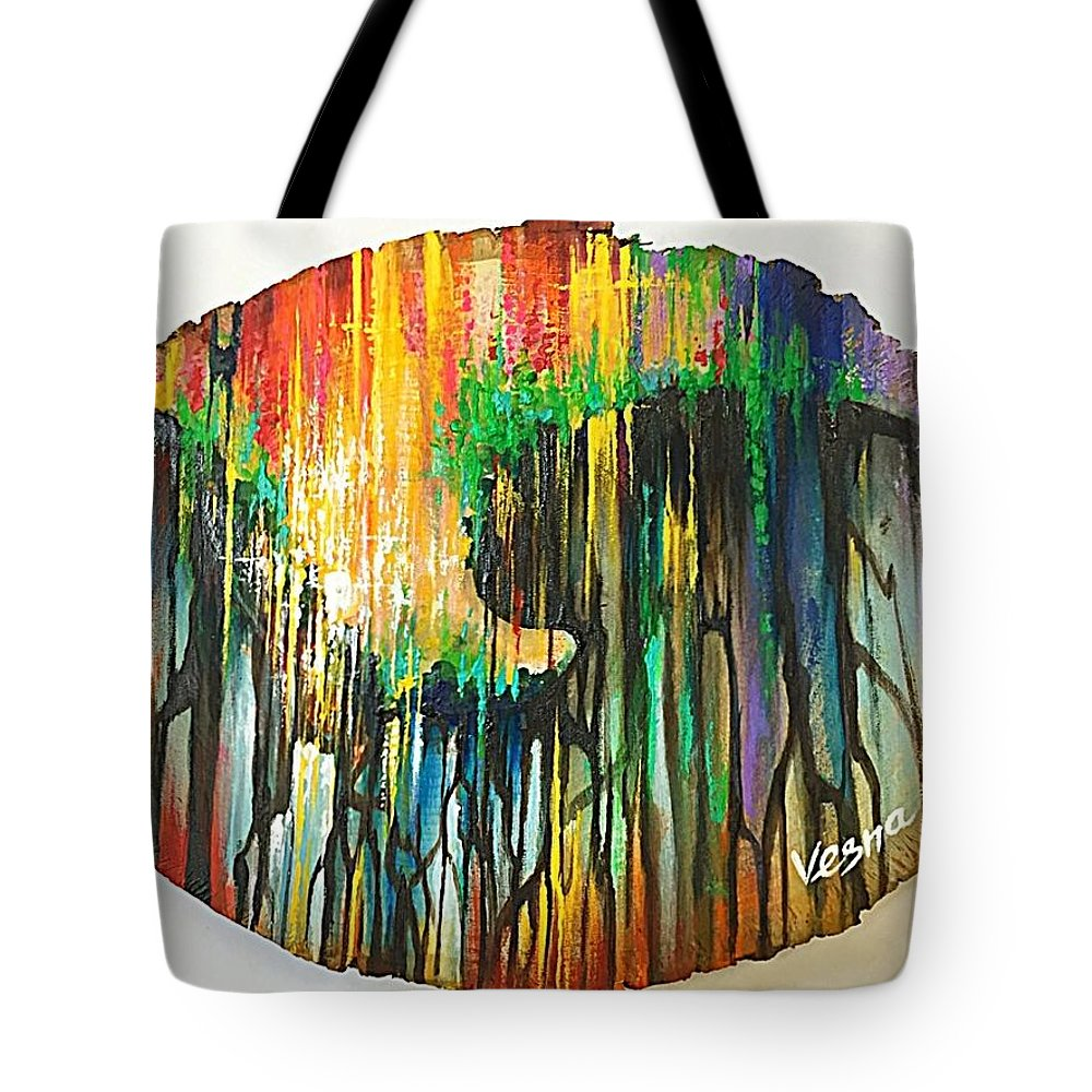 Wood Tote Bag featuring the painting Heartbeat by Vesna Delevska