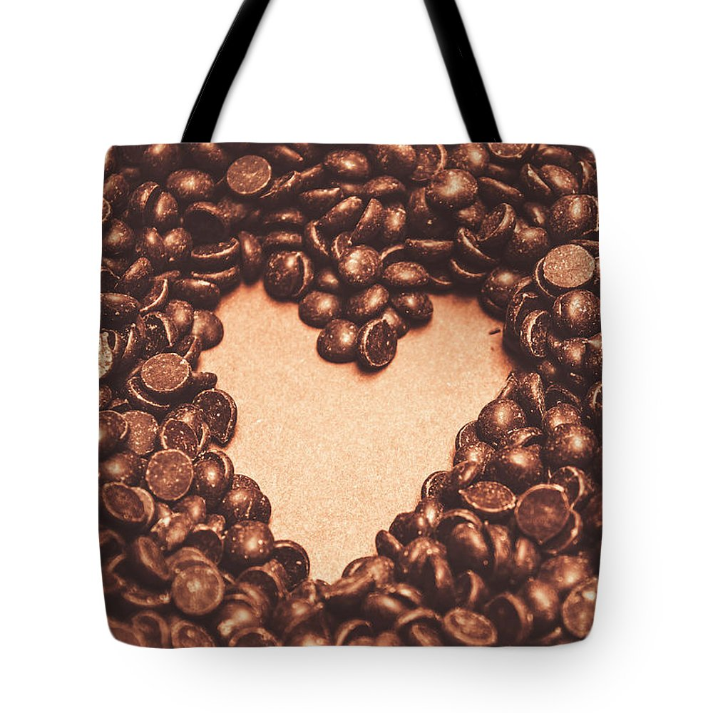Chocolate Tote Bag featuring the photograph Hearts And Chocolate Drops. Valentines Background by Jorgo Photography - Wall Art Gallery