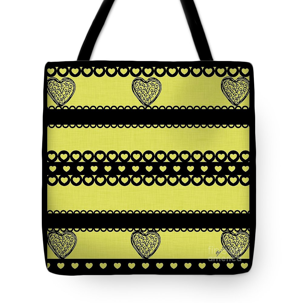 Hearts Tote Bag featuring the digital art Hearts On Lime Green by Sharon Johnston