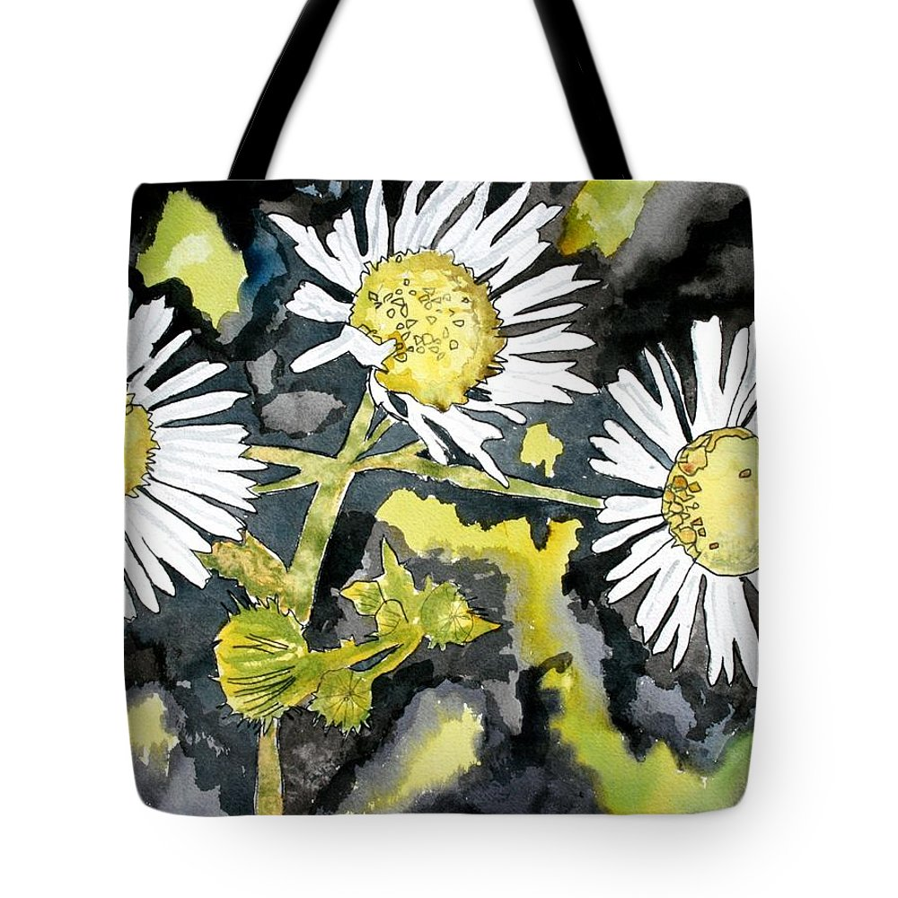 Wildflower Tote Bag featuring the painting Heath Aster Flower Art Print by Derek Mccrea