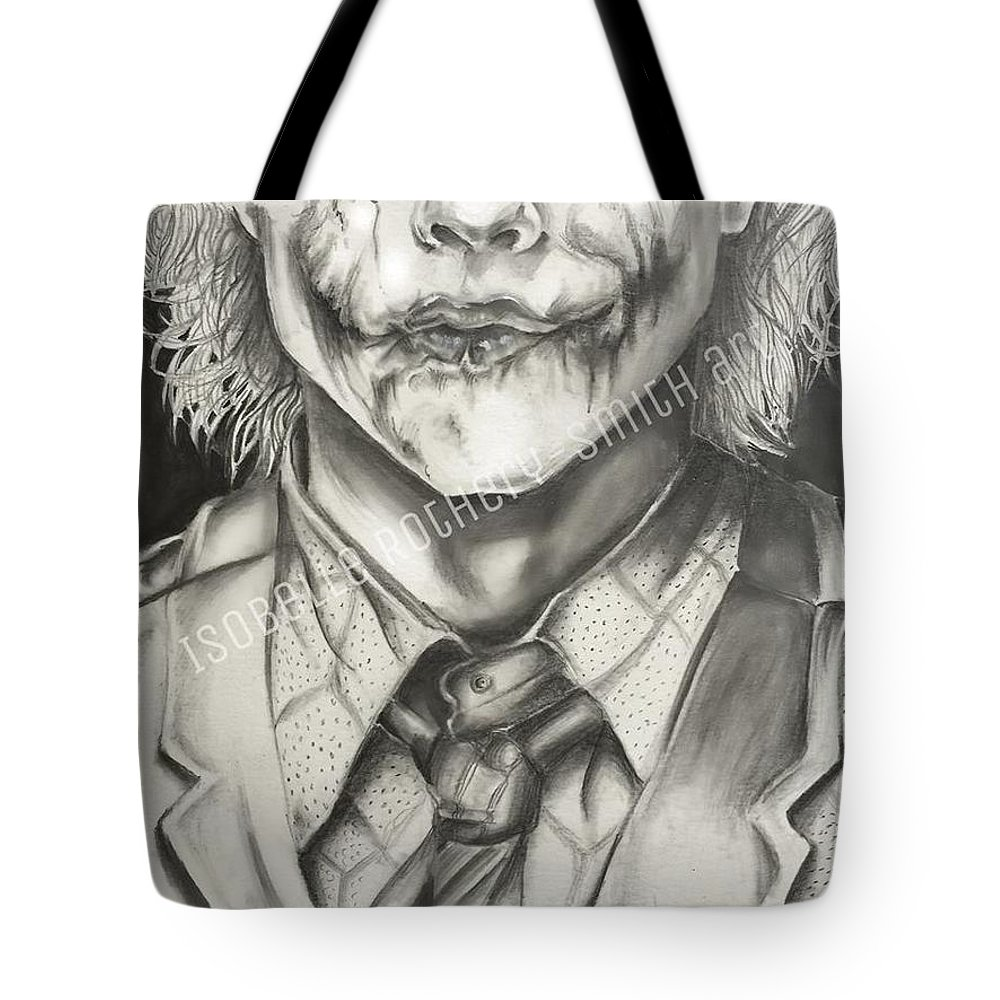 Heath ledger tote bag featuring the drawing heath ledger joker pencil sketch by isobelle rothery