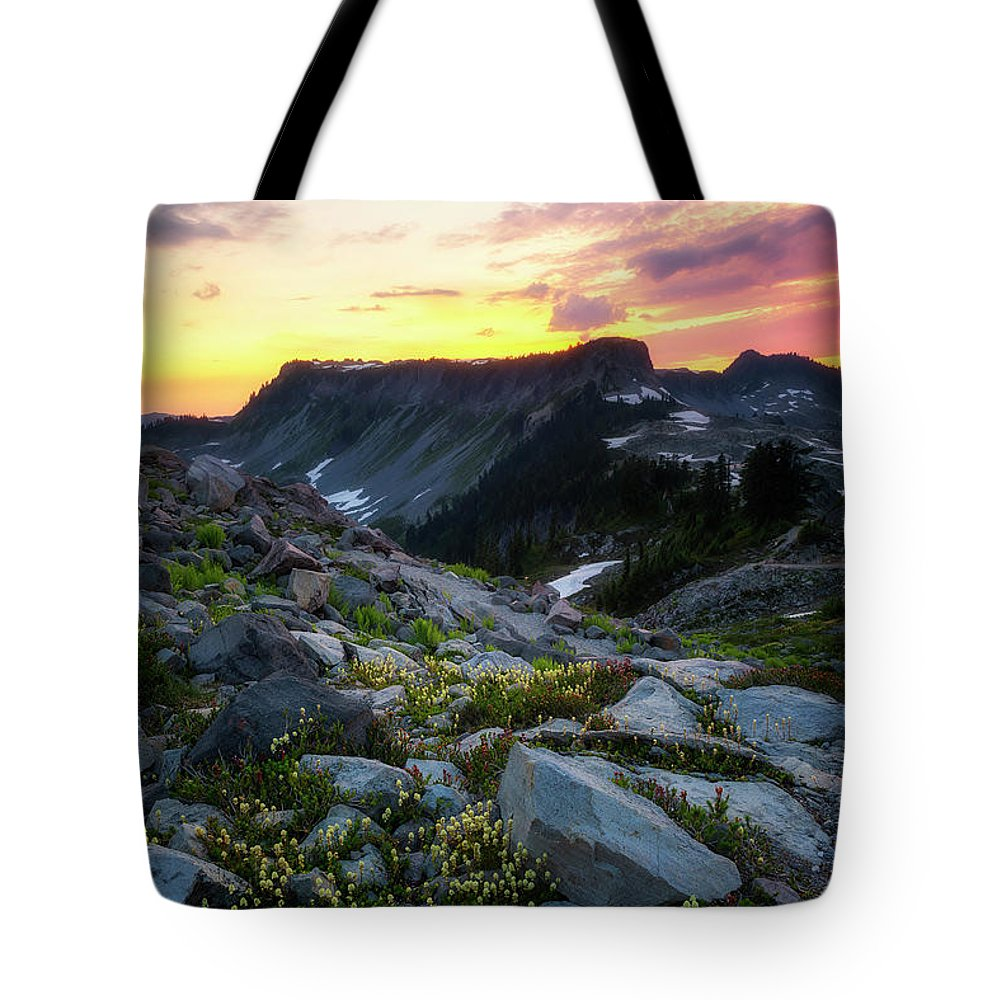 Meadows Tote Bag featuring the photograph Heather Meadows Sunset by Ryan Manuel