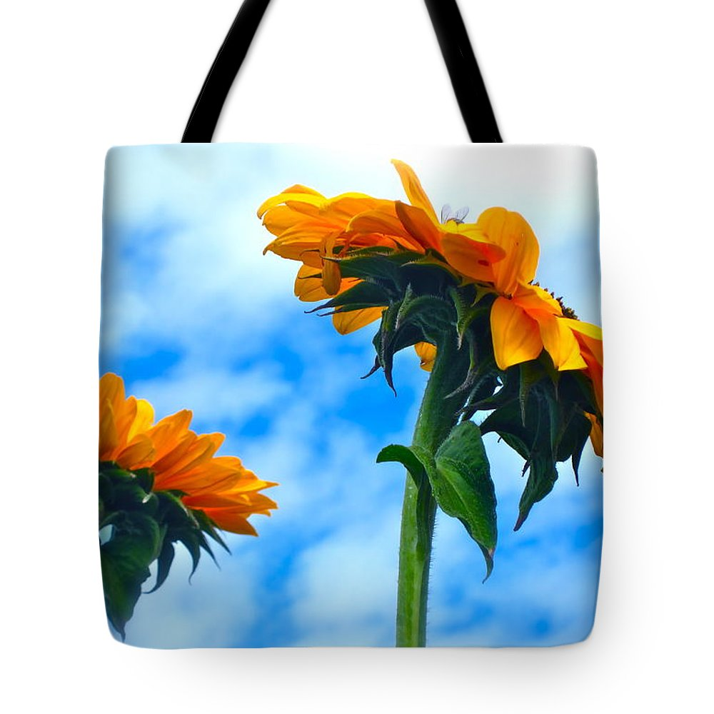 Photograph Of Sunflowers Tote Bag featuring the photograph Heaven Above ... by Gwyn Newcombe