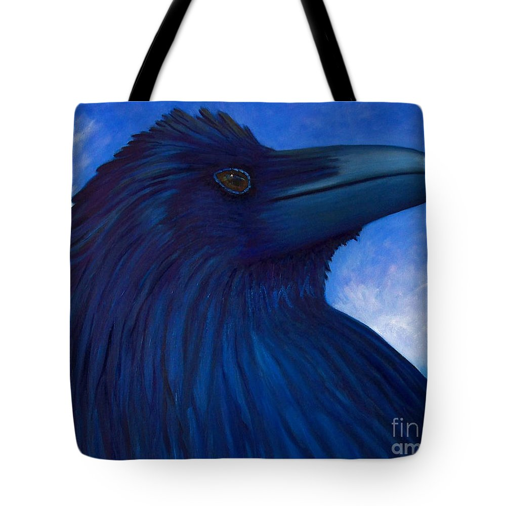 Raven Tote Bag featuring the painting Heaven Bound by Brian Commerford