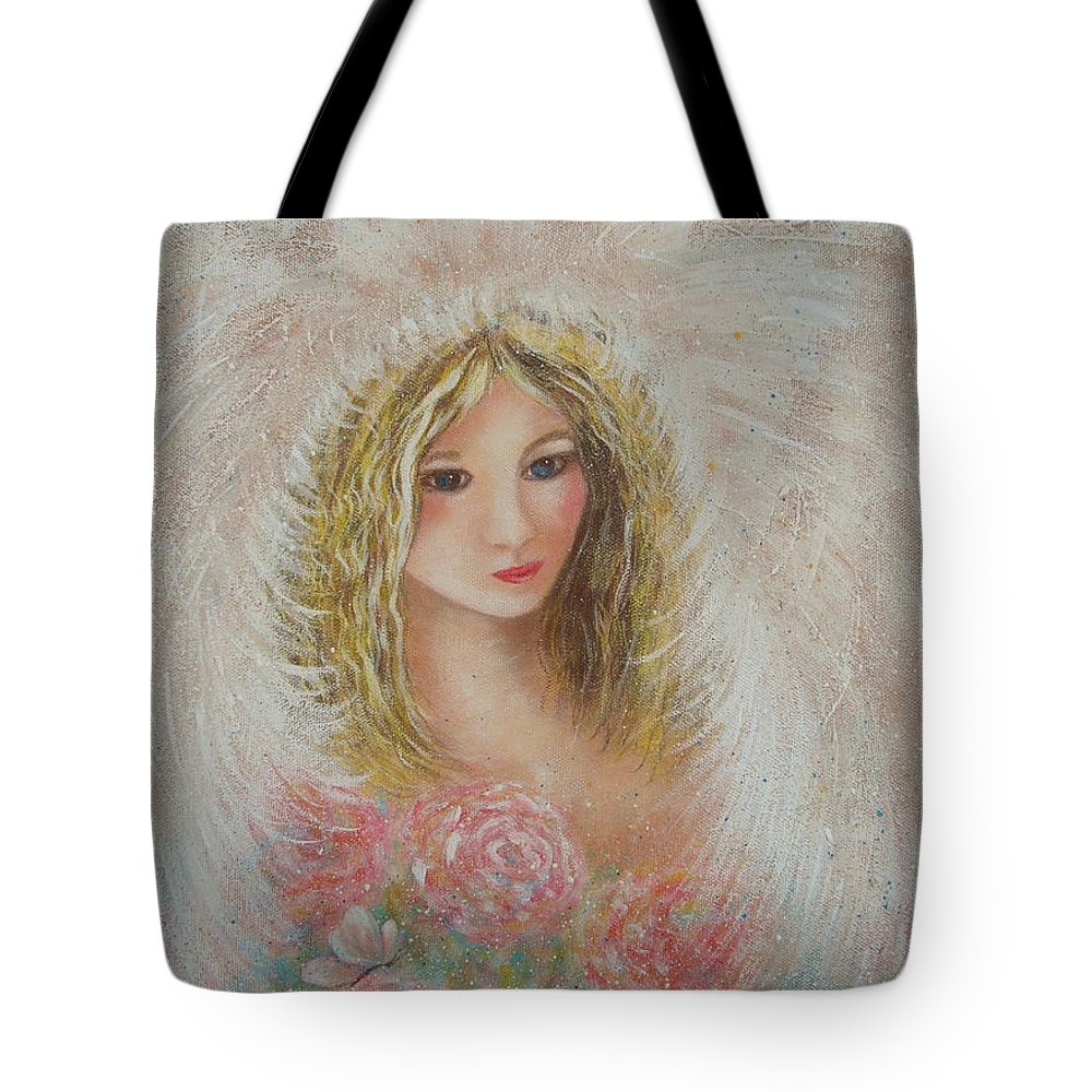 Angel Tote Bag featuring the painting Heavenly Angel by Natalie Holland