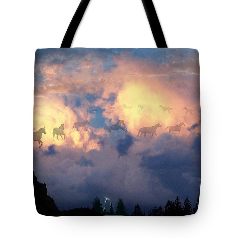 Horses Tote Bag featuring the digital art Heavenly Carousel by Bill Stephens