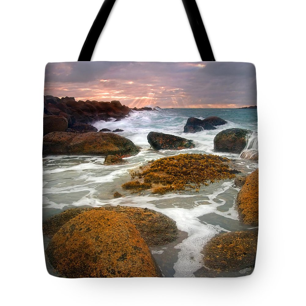 Sunrise Tote Bag featuring the photograph Heavenly Dawning by Mike Dawson