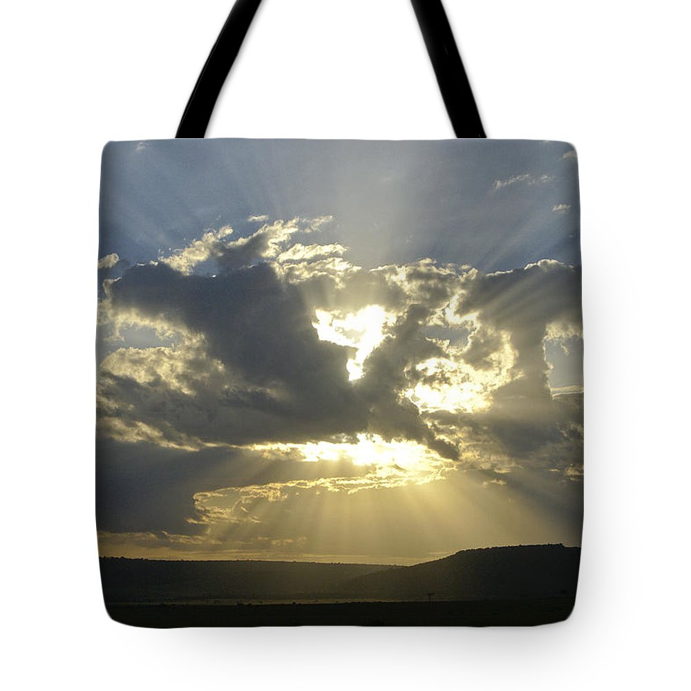 Africa Tote Bag featuring the photograph Heavenly Rays by Michele Burgess