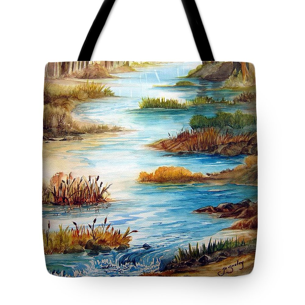 Heavens Gift Water Trees Landscape Tote Bag featuring the painting Heavens Gift by Joanne Smoley