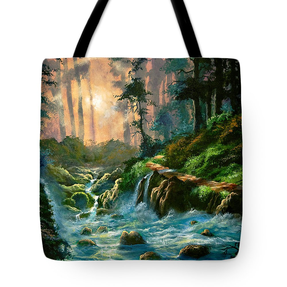 Landscape Tote Bag featuring the painting Heaven's Light by Marco Antonio Aguilar