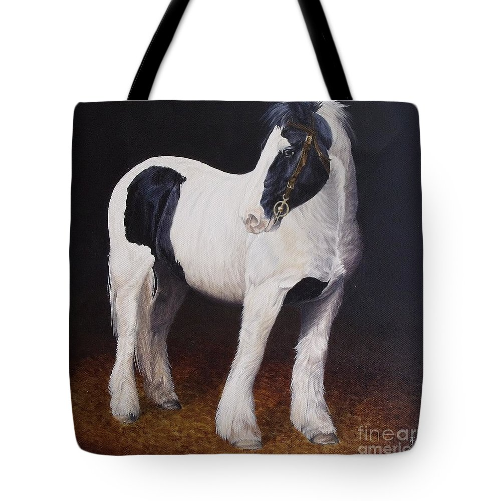 Portrait Tote Bag featuring the painting Heavy Stallion Glin Fair by Pauline Sharp