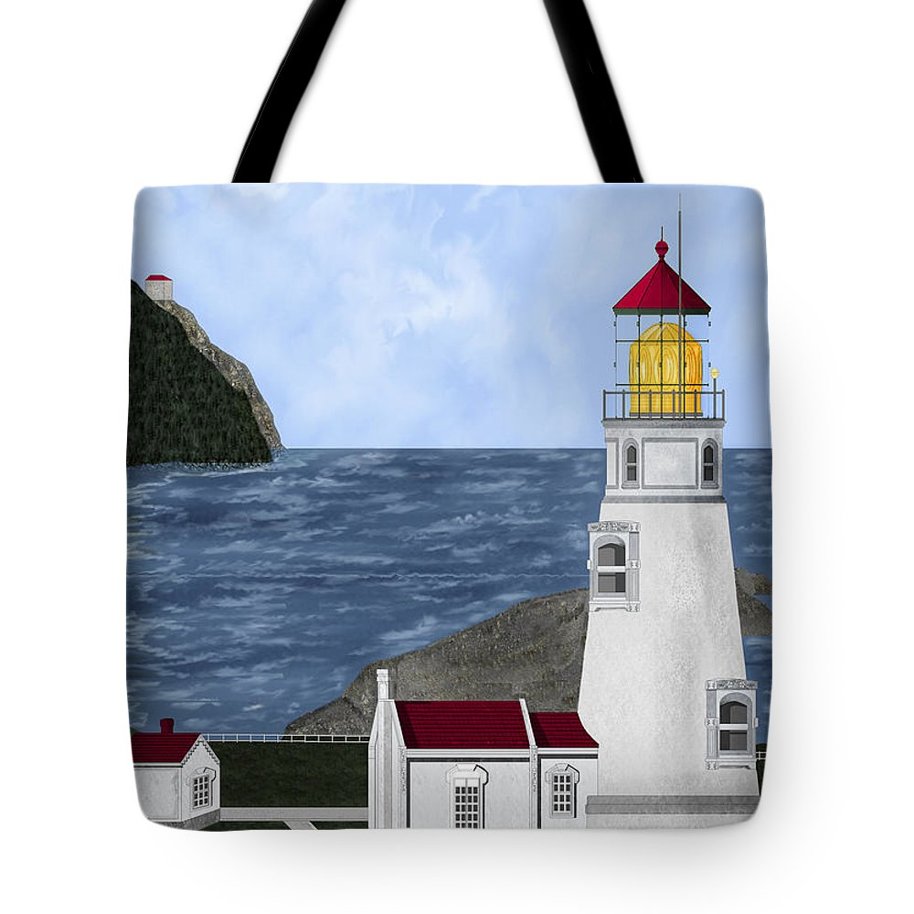 Lighthouse Tote Bag featuring the painting Heceta Head Oregon by Anne Norskog
