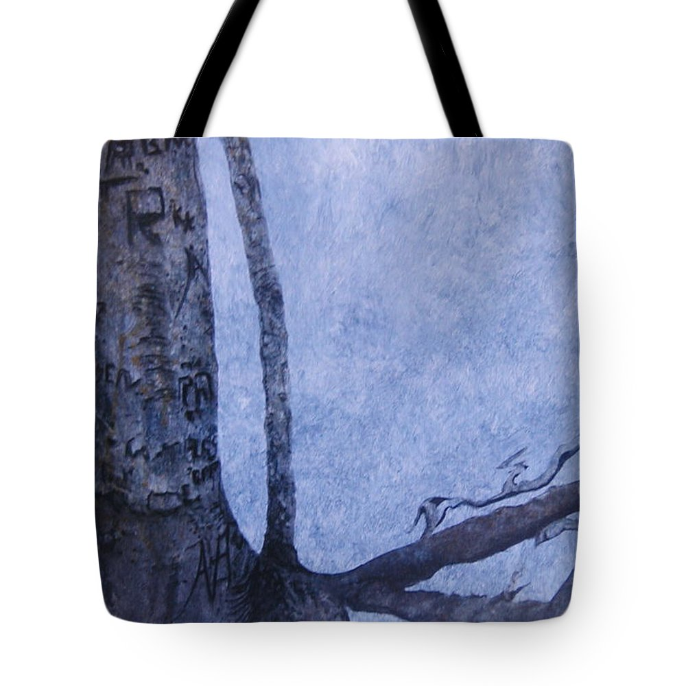 Tree Trunk Tote Bag featuring the painting Hedden Park II by Leah Tomaino