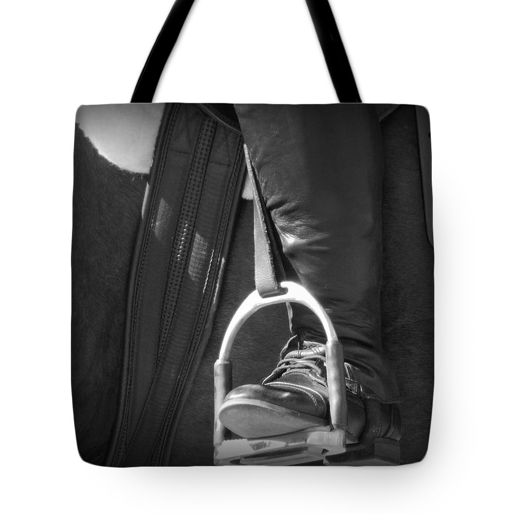 Heels Down Tote Bag featuring the photograph Heels Down by Karen Cook