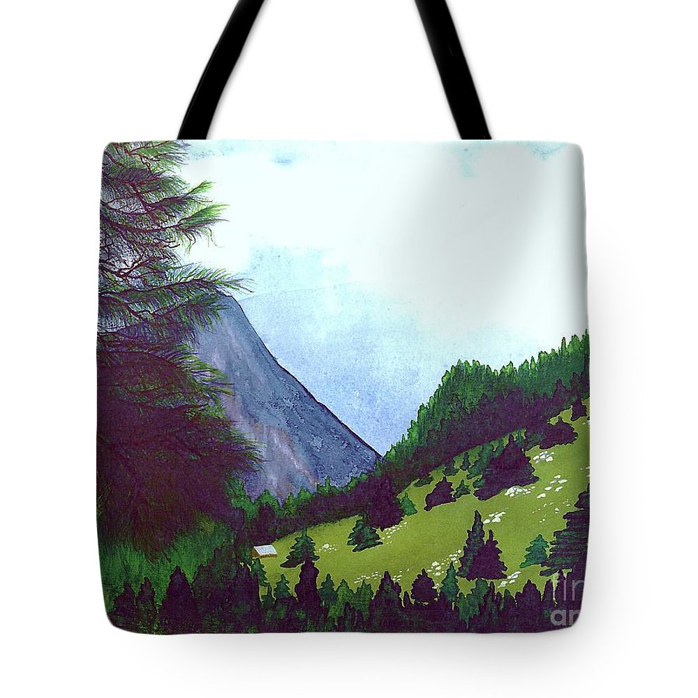 Original Painting Tote Bag featuring the painting Heidi's Place by Patricia Griffin Brett