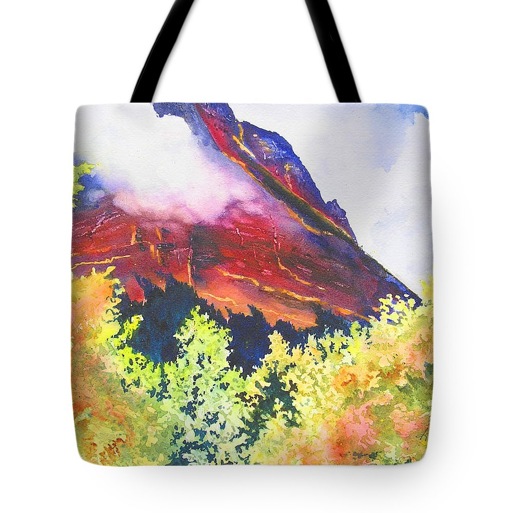 Mountain Tote Bag featuring the painting Heights of Glacier Park by Karen Stark