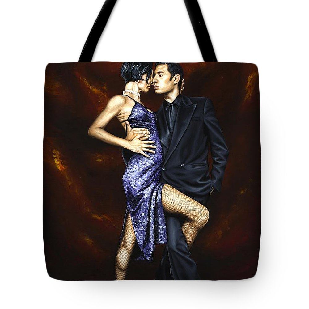 Tango Dancers Love Passion Female Male Woman Man Dance Tote Bag featuring the painting Held In Tango by Richard Young