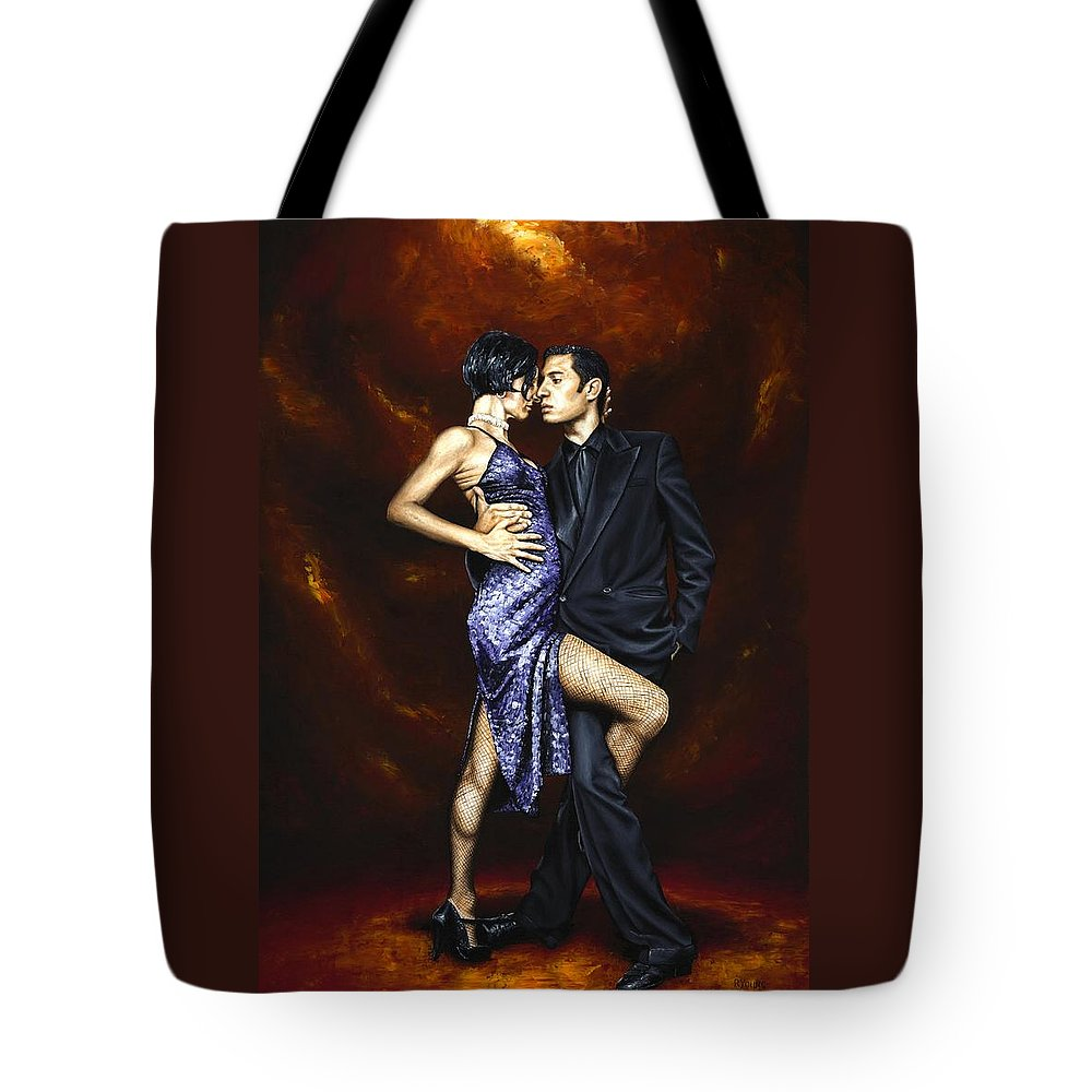 Tango Tote Bag featuring the painting Held in Tango by Richard Young