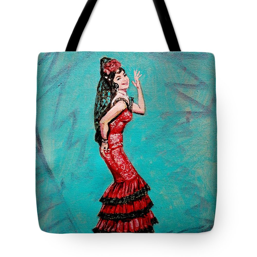 Bollywood Tote Bag featuring the painting Helen In Teesri Manzil by Usha Shantharam