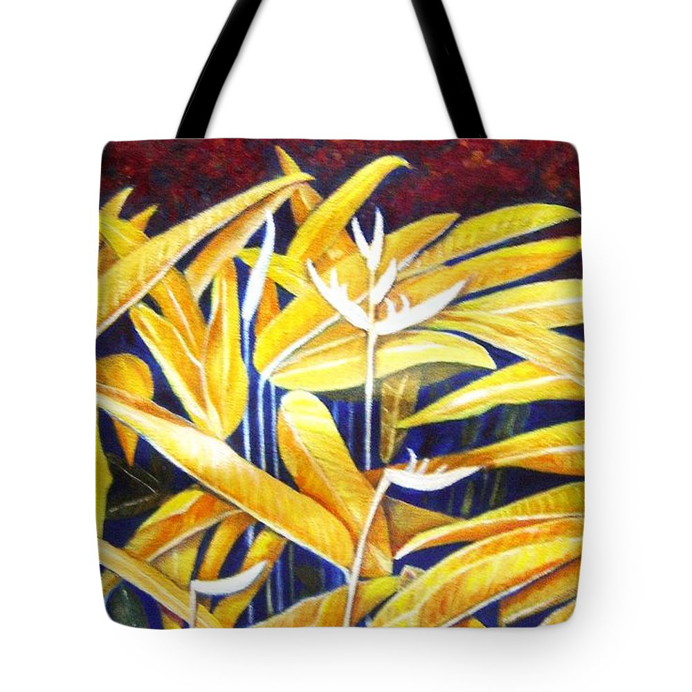 Heliconia Tote Bag featuring the painting Heliconia by Usha Shantharam