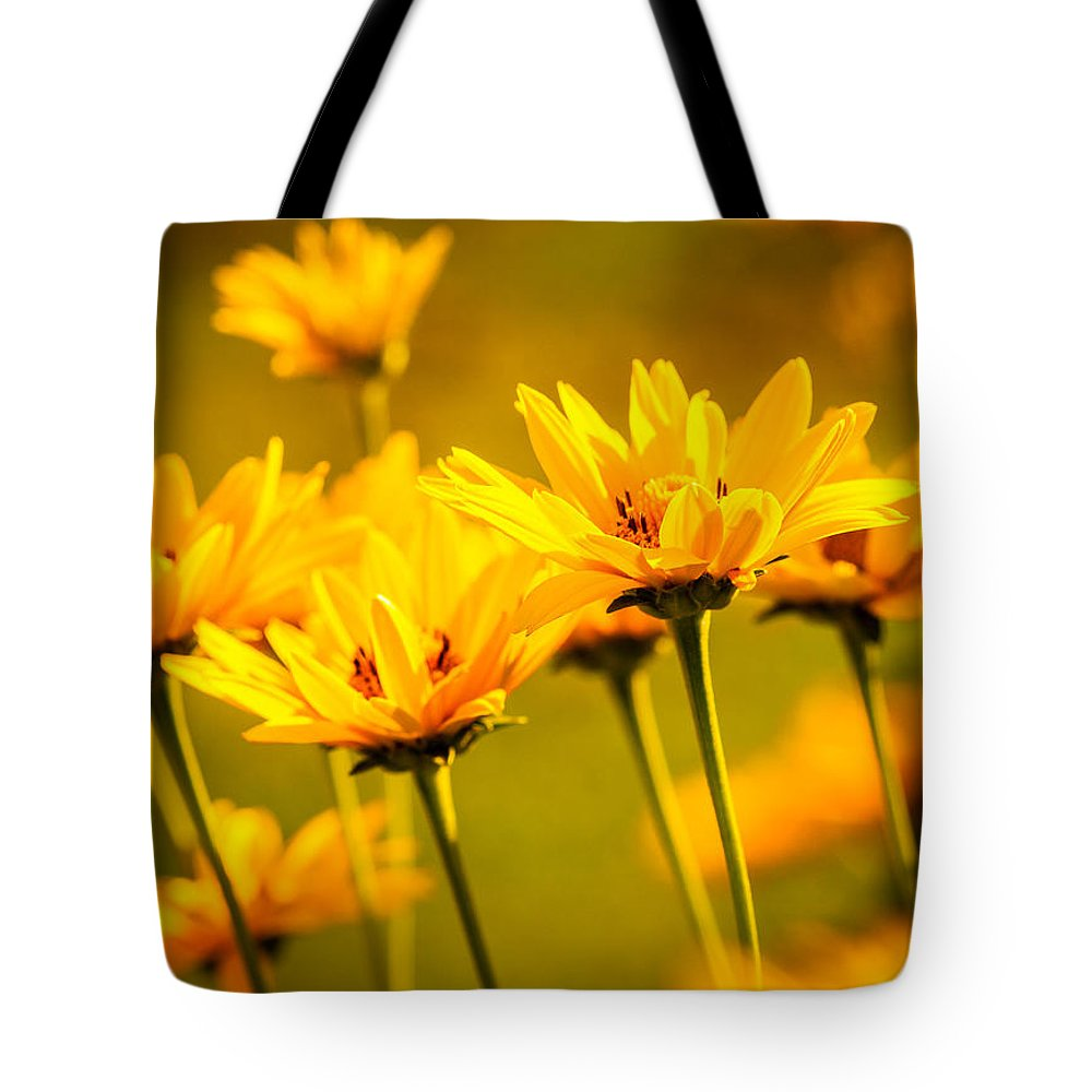 Heliopsis Tote Bag featuring the photograph Heliopsis by Heather Hubbard