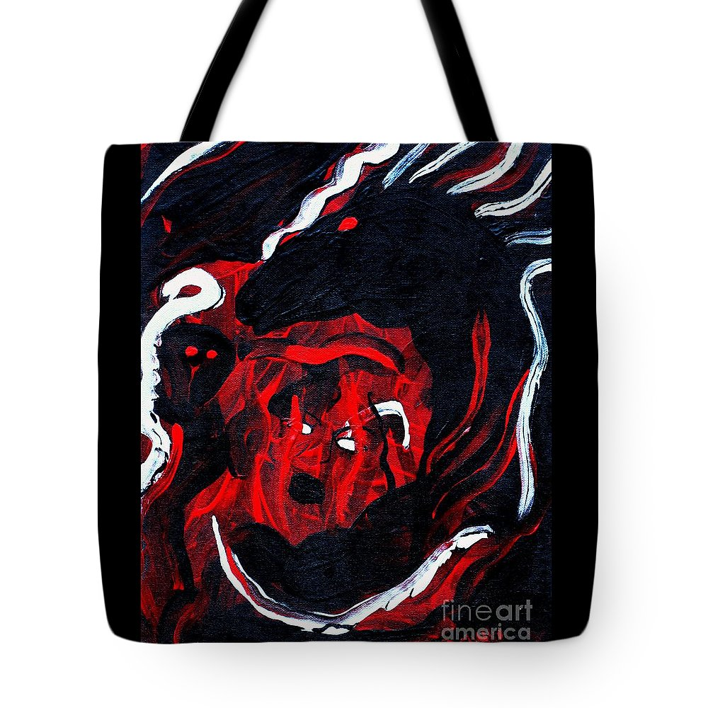 Horse Woman Red Black Silver Tote Bag featuring the painting Hell Beast by Dawn Downour
