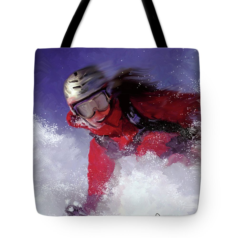 Ski Tote Bag featuring the painting Hell Bent For Powder by Colleen Taylor