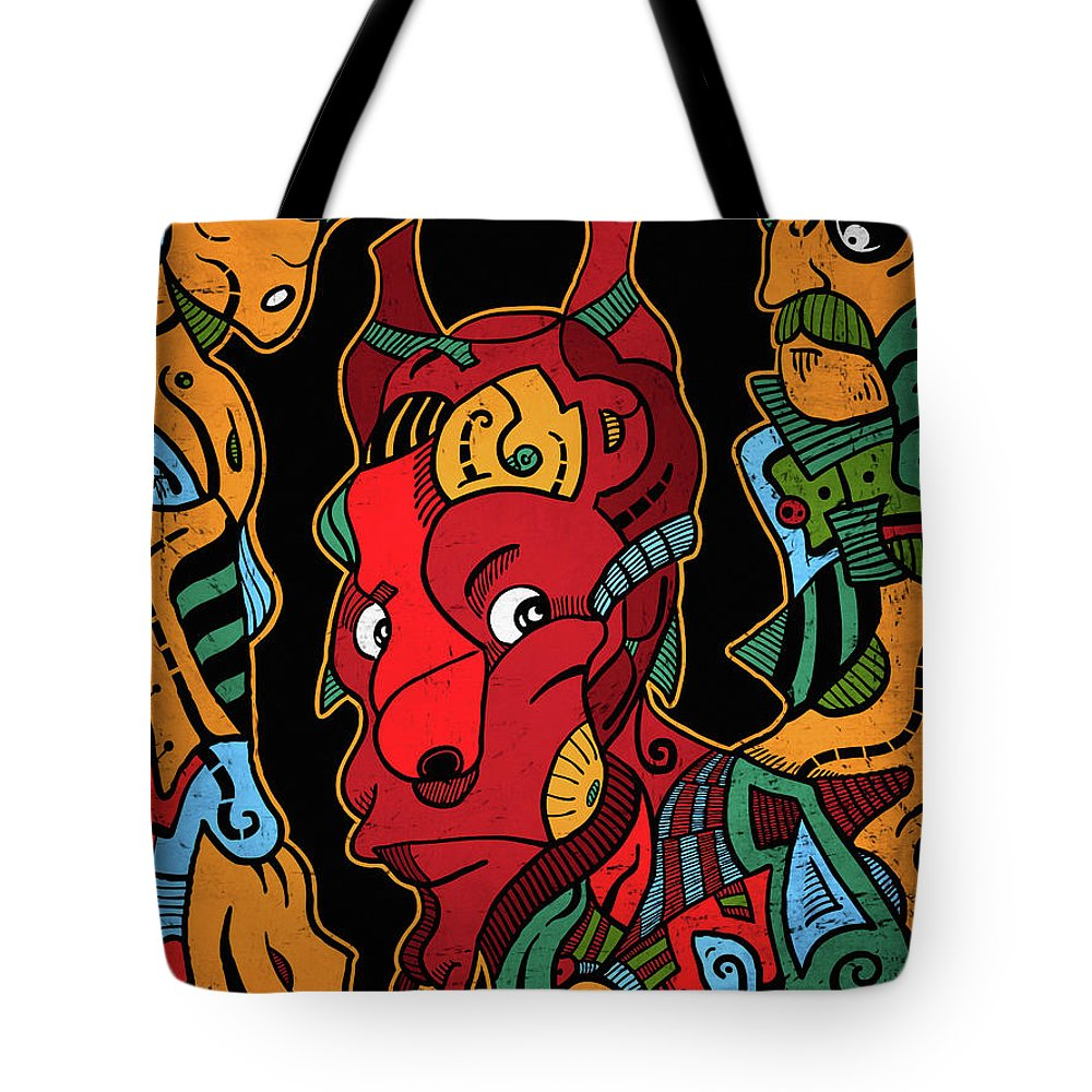 Illustration Tote Bag featuring the digital art Hell by Sotuland Art